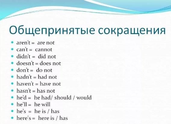 сокращения в английском